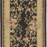 Hand-woven Wool French Aubusson Flat Weave Black Runner Rug