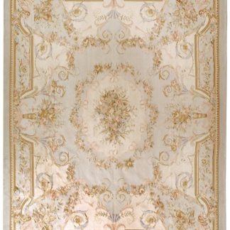 Hand-woven Wool French Aubusson Flat Weave Musical Instruments Powder Blue Rug