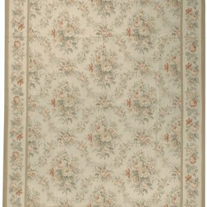 Hand-woven Wool French Aubusson Flat Weave Bouquet Cream Cream Rug