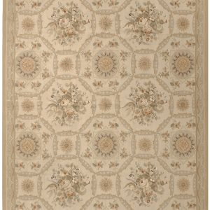 Hand-woven Wool French Aubusson Flat Weave Bouquet Ivory Gold Rug
