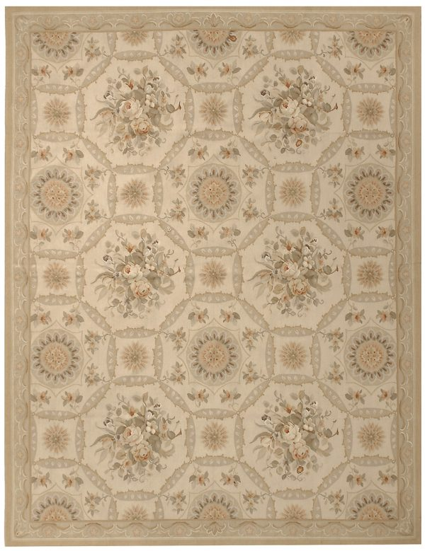 Hand Woven Wool French Aubusson Flat Weave Bouquet Ivory