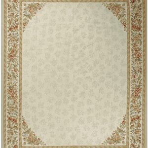 Hand-woven Wool French Aubusson Flat Weave Ivory Ivory Rug