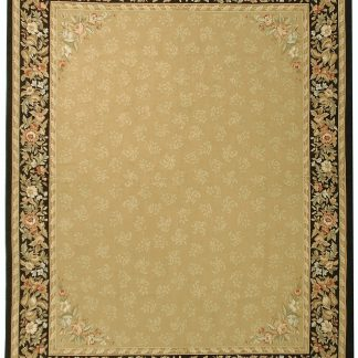 Hand-woven Wool French Aubusson Flat Weave Gold Black Rug