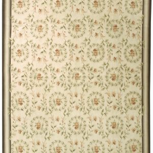 Hand-woven Wool French Aubusson Flat Weave Wreath Ivory Denim Rug