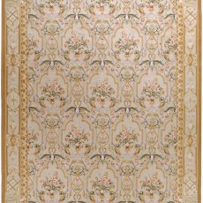 Hand-woven Wool French Aubusson Flat Weave Bouquet Cream Rug
