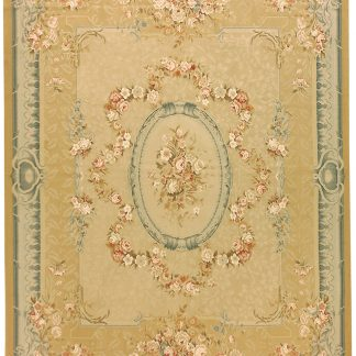 Hand-woven Wool French Aubusson Flat Weave Garland Gold Blue Rug