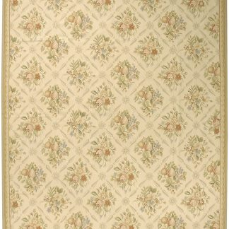 Hand-woven Wool French Aubusson Flat Weave Fruit Ivory Beige Rug