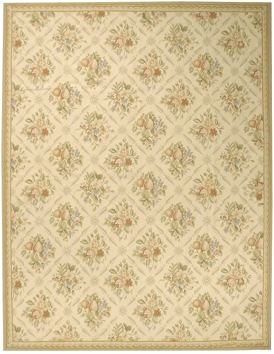 Hand Woven Wool French Aubusson Flat Weave Fruit Ivory