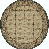 Hand-woven Wool French Aubusson Flat Weave Gold Dark Brown Round Rug