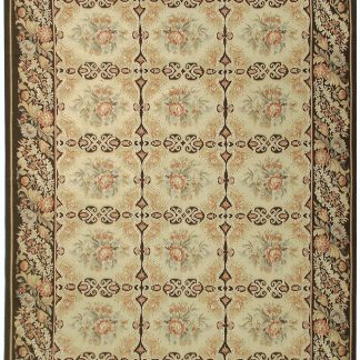 Hand-woven Wool French Aubusson Flat Weave Gold Dark Brown Rug