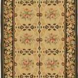 Hand-woven Wool French Aubusson Flat Weave Gold Dark Brown Runner Rug