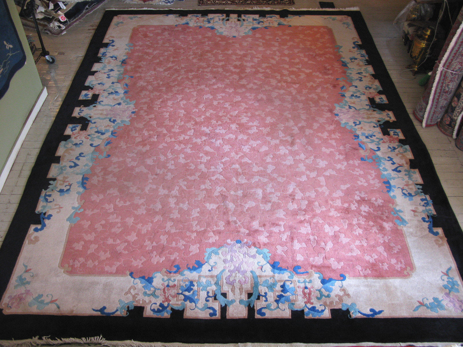 10′ x 13'6 Hand-knotted Antique Chinese Art Deco Nichols Pink Black Rug 12980482 (1)