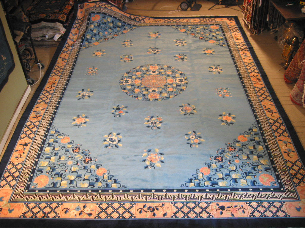 10'2 x 14'2 Hand-knotted Newly Made Chinese Art Deco Peking Design Blue Rug 12980483 (1)
