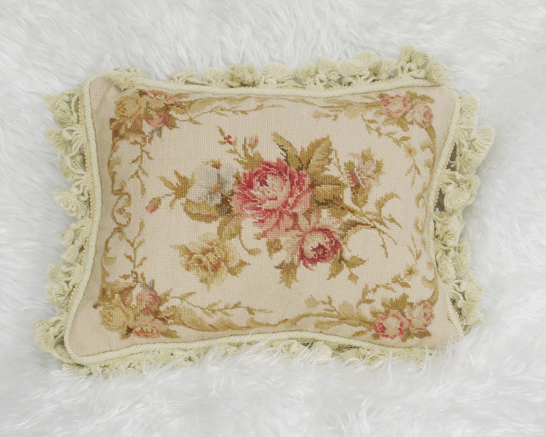 12″ x 16″ Handmade Wool Needlepoint Petit Point Cushion Cover Pillow Case 12980419