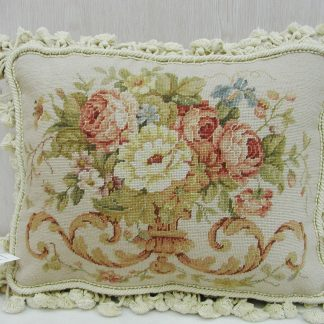 12 x 16 Handmade Wool Needlepoint Petit Point Floral Roses Cushion Cover Pillow Case 12980424