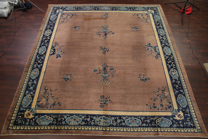 12'2 x 13'2 Hand-knotted Antique Wool Chinese Art Deco Nichols Rug 12980528 (1)