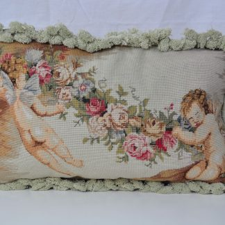 12x20 Cherub Angel with Garland Handmade Wool Needlepoint Petit Point Cushion Cover Pillow Case 12980432