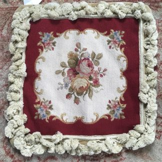 "14"" x 14"" Handmade Wool Needlepoint Roses Cushion Cover Pillow Case with Fringe 12980413"