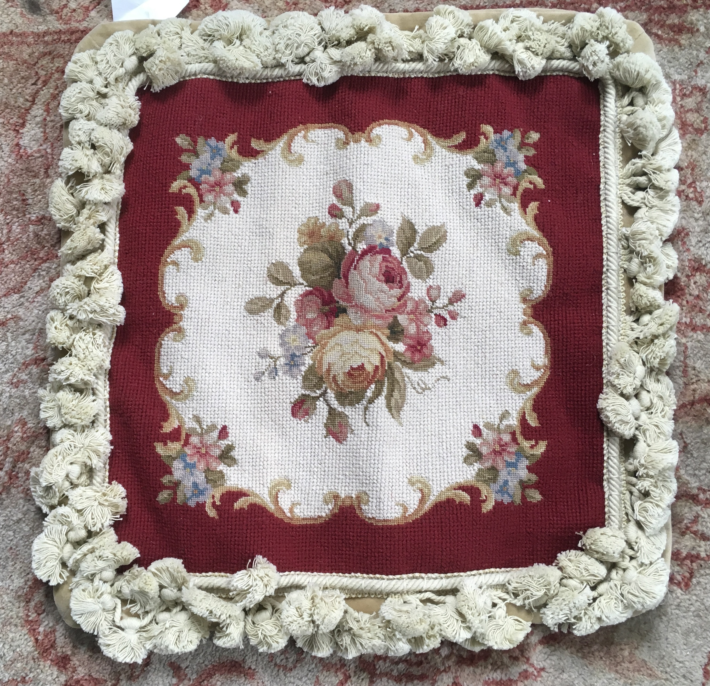 14″ x 14″ Handmade Wool Needlepoint Roses Cushion Cover Pillow Case with Fringe 12980413