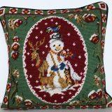 14 x 14 Handmade Wool Needlepoint Snowman Christmas Cushion Cover Pillow Case 12980776