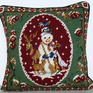 14 x 14 Handmade Wool Needlepoint Snowman Christmas Cushion Cover Pillow Case 12980776