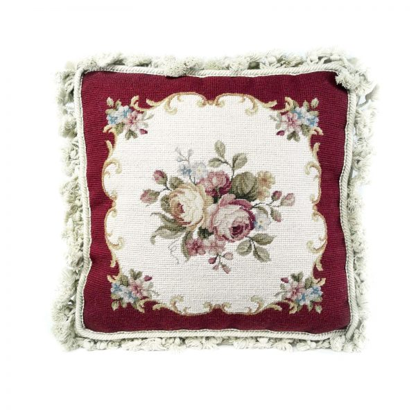 14 x 14 Handmade Wool Needlepoint and Petitpoint Roses Cushion Cover Pillow Case with Fringe 12980413 (9)