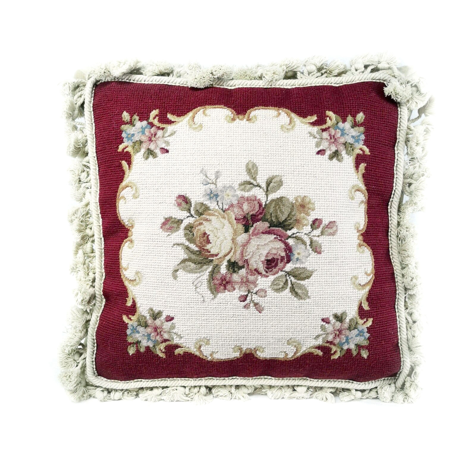 14 x 14 Handmade Wool Needlepoint and Petitpoint Roses Cushion Cover Pillow Case with Fringe 12980413 (1)