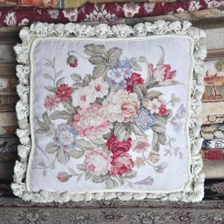 16 x 16 Handmade Wool Needlepoint Petit Point Floral Roses Cushion Cover Pillow Case 12980423