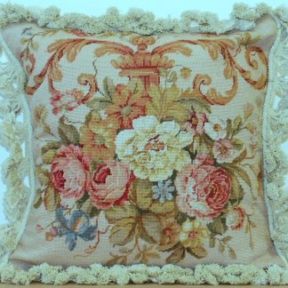 "16"" x 16"" Handmade Wool Needlepoint Petit Point Floral Roses Cushion Cover Pillow Case 12980425"