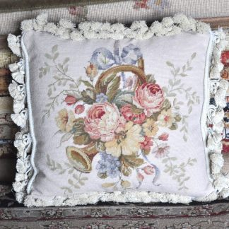 """16"""" x 16"""" Handmade Wool Needlepoint Petit Point Ribbon Roses Basket of Flowers Musical Instrument Cushion Cover Pillow Case 12980420"""