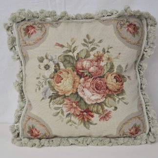 "16"" x 16"" Handmade Wool Needlepoint Petit Point Roses Cushion Cover Pillow Case 12980421"