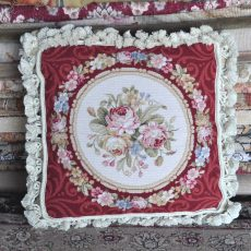 "16"" x 16"" Handmade Wool Needlepoint Petit Point Roses Cushion Cover Pillow Case 12980430"