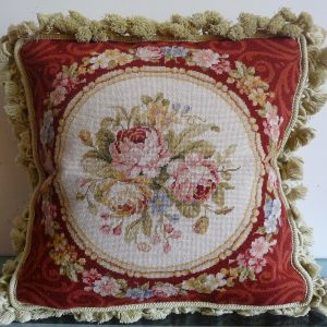 16 x 16 Handmade Wool Needlepoint Petit Point Roses Cushion Cover Pillow Case 12980430