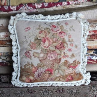 "16"" x 16"" Handmade Wool Needlepoint Petit Point Roses Fruit Bird Cushion Cover Pillow Case 12980418"