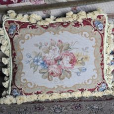 16 x 20 Handmade Wool Needlepoint Petit Point Floral Roses Cushion Cover Pillow Case 12980416