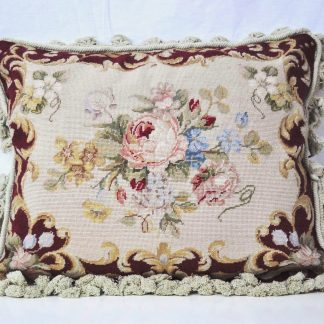 "16"" x 20"" Handmade Wool Needlepoint Petit Point Floral Roses Cushion Cover Pillow Case 12980417"