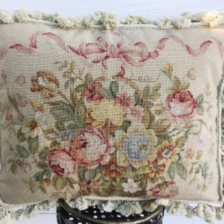 16 x 20 Handmade Wool Needlepoint Petit Point Ribbon on Basket of Flowers Roses Cushion Cover Pillow Case 12980427