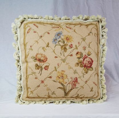 "18"" x 18"" Handmade Wool Needlepoint Petit Point English Garden Cushion Cover Pillow Case 12980433"