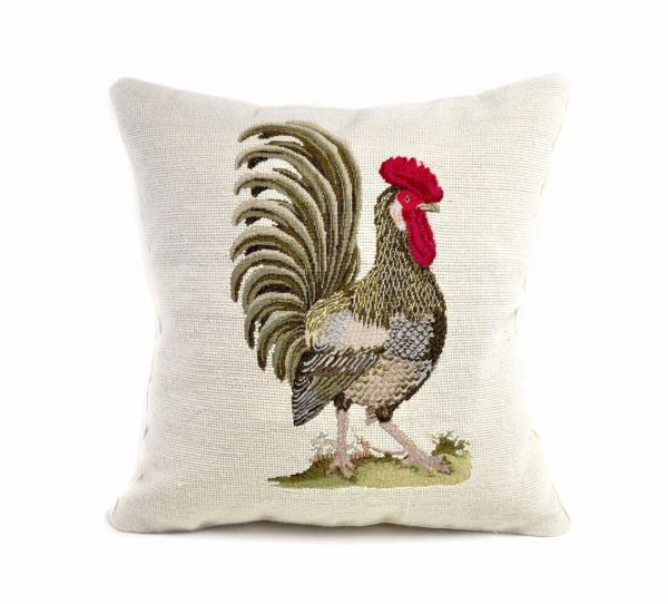 """18""""x18"""" Handmade Wool Needlepoint Petit Point French Country Rooster Cushion Cover Pillow Case 12980436"""