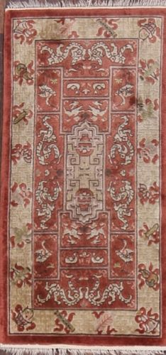 2′ x 4′ Hand-knotted Silk Antique Chinese Art Deco Pictorial Rug 12980503 (2)
