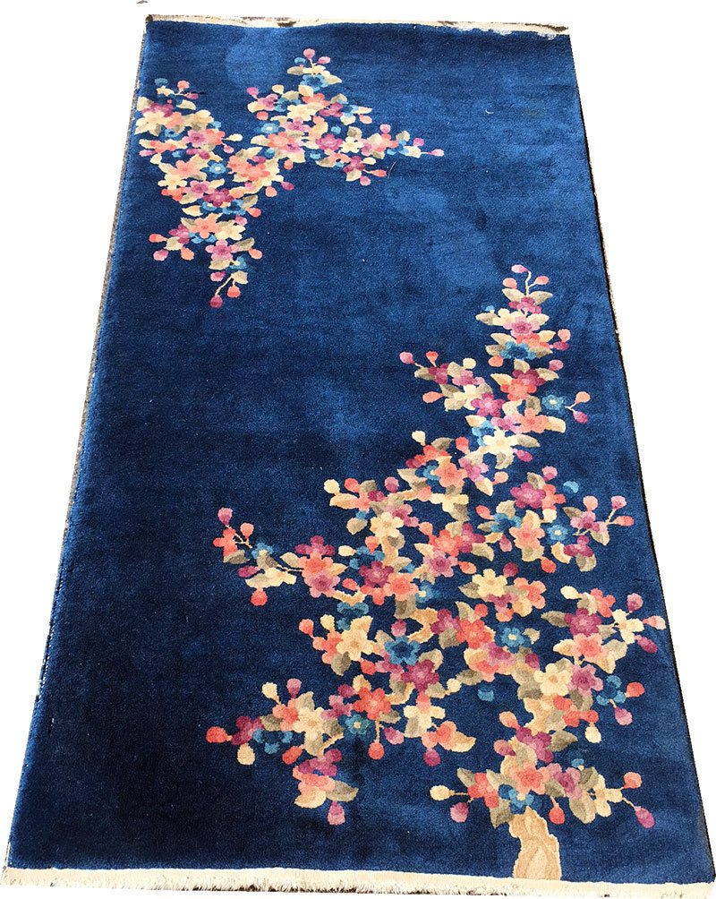 2'10 x 5'10 Hand-knotted ca.1930s Antique Wool Chinese Art Deco Blue Rug 12980565 (3)