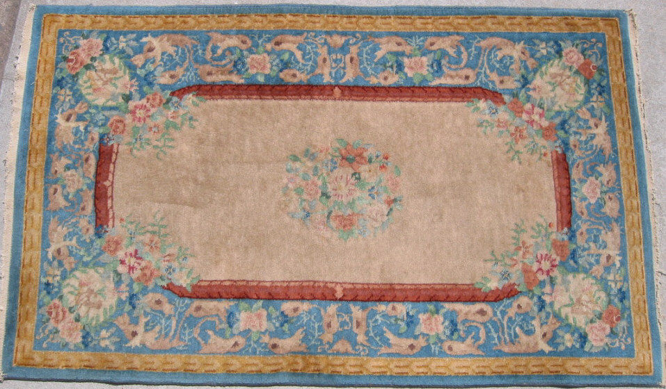 2'11 x 4'10 Hand-knotted Wool Antique Chinese Art Deco ca.1930 Ivory Blue Nichols Rug 12980499 (1)