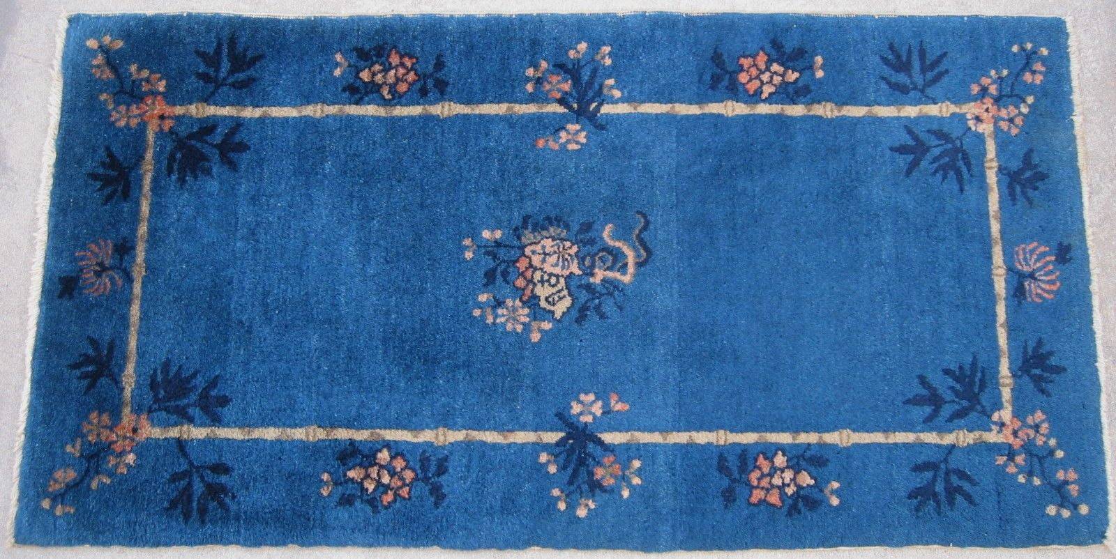 2'6 x 4'10 Hand-knotted Wool Antique Chinese Art Deco ca.190 Peking Blue Rug 12980497 (6)
