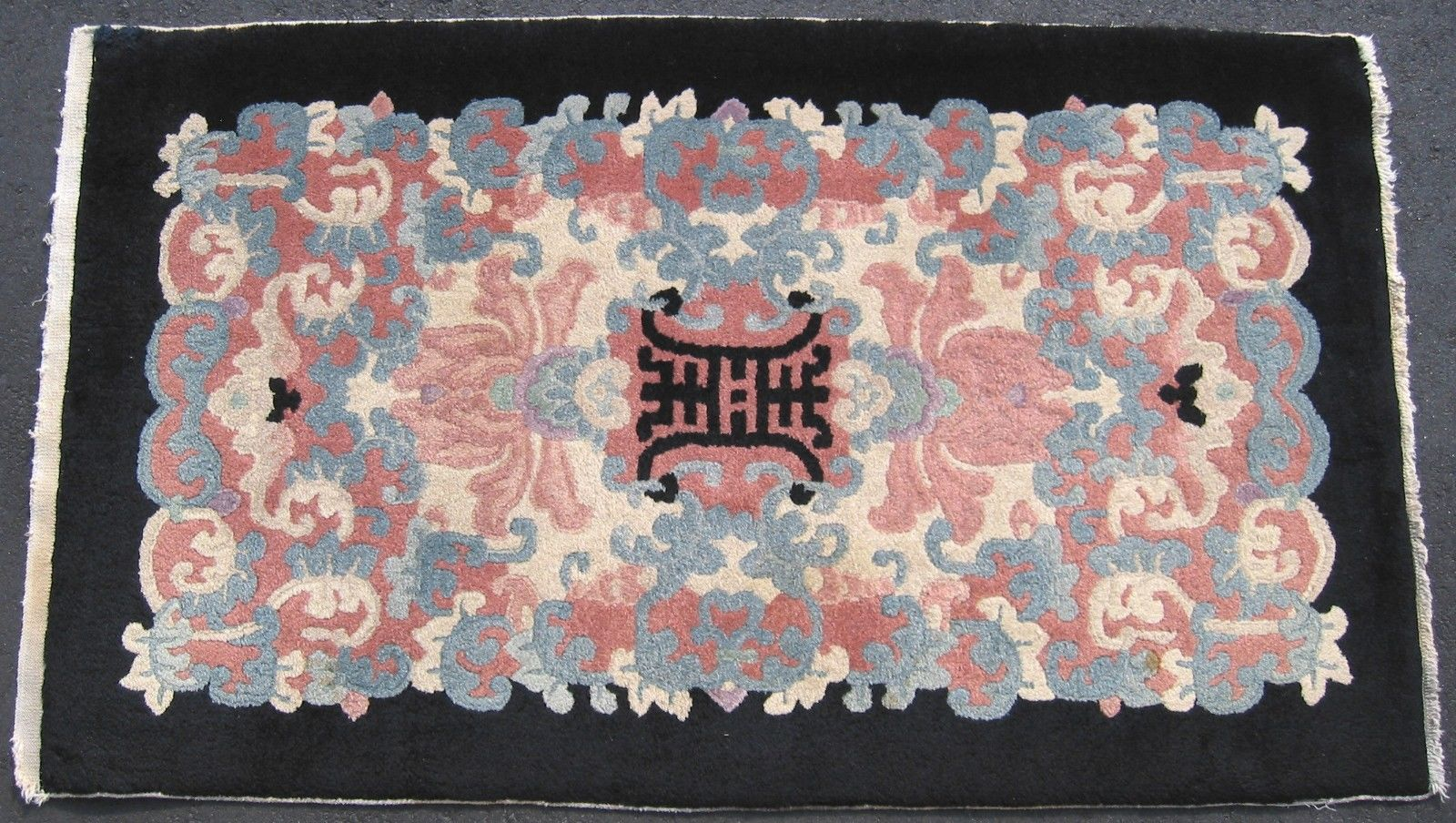 2'8 x 4'5 Hand-knotted Wool Antique Chinese Art Deco ca.1920 Shou Design Black Rug 12980496 (1)