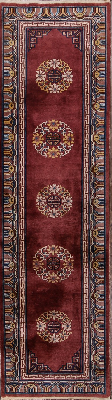 3′ x 11'3 Hand-knotted Wool Antique Chinese Art Deco Nichols Burgundy Runner Rug 12980507 (1)
