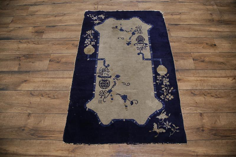 3′ x 4'10 Hand-knotted Wool Antique Chinese Art Deco Nichols Beige Navy Blue Rug 12980502 (1)