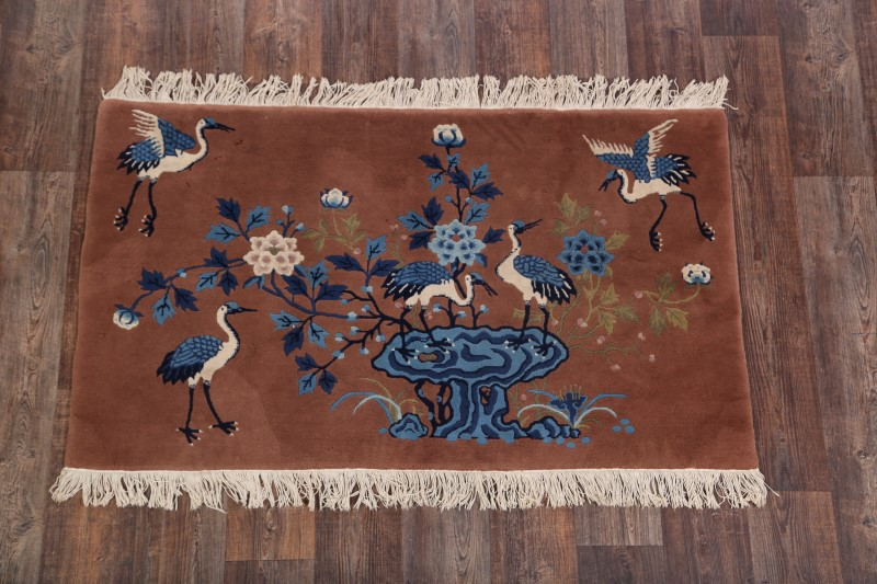 3'1 x 5'3 Hand-knotted Antique Wool Chinese Art Deco Nichols Pictorial Rug 12980516 (2)