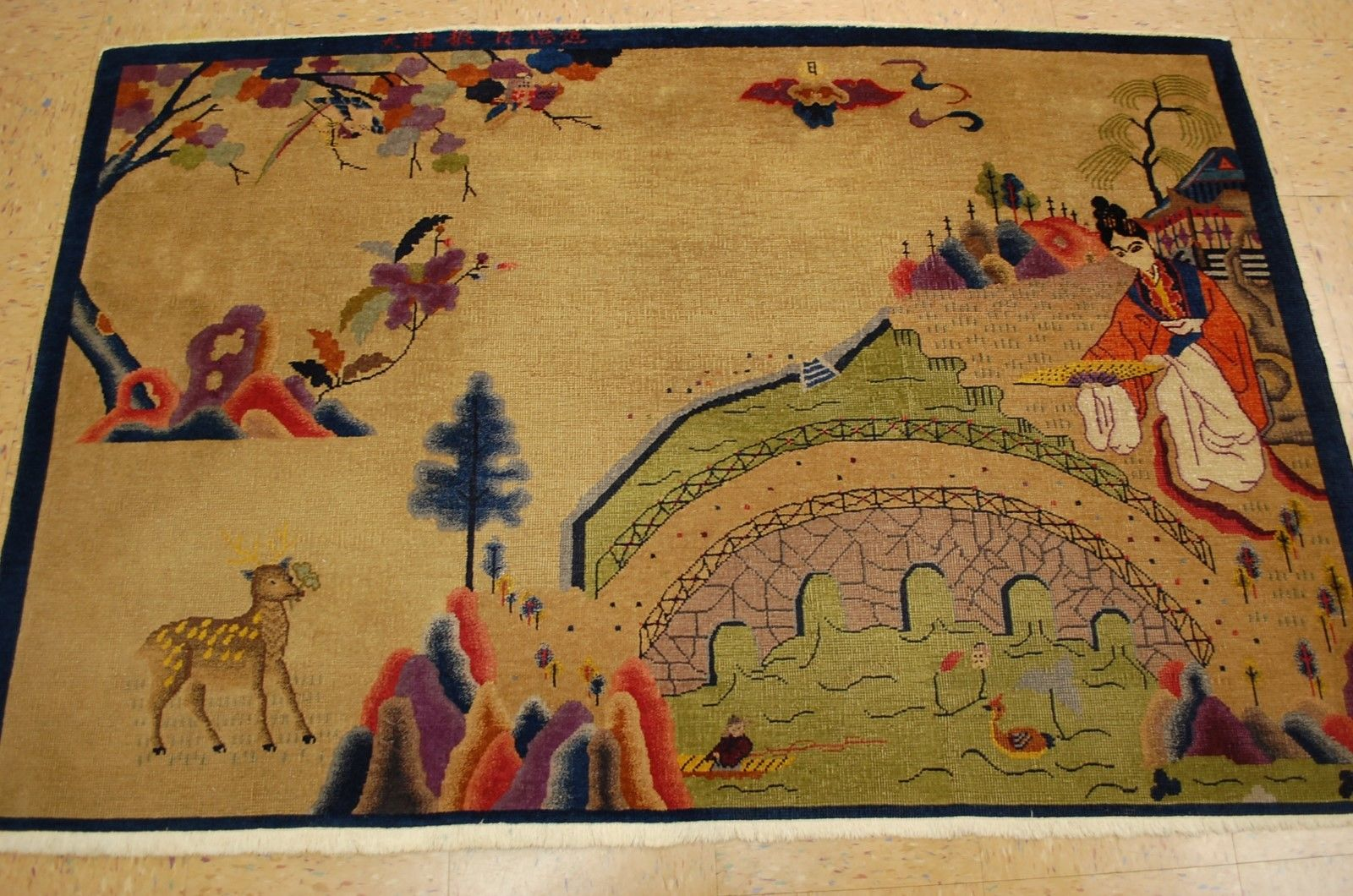 3'10 x 5'10 Hand-knotted Circa 1910's Antique Wool Chinese Art Deco Nichols GEISHA DESIGN Signed Rug Tapestry Wall Hanging 12980562 (11)