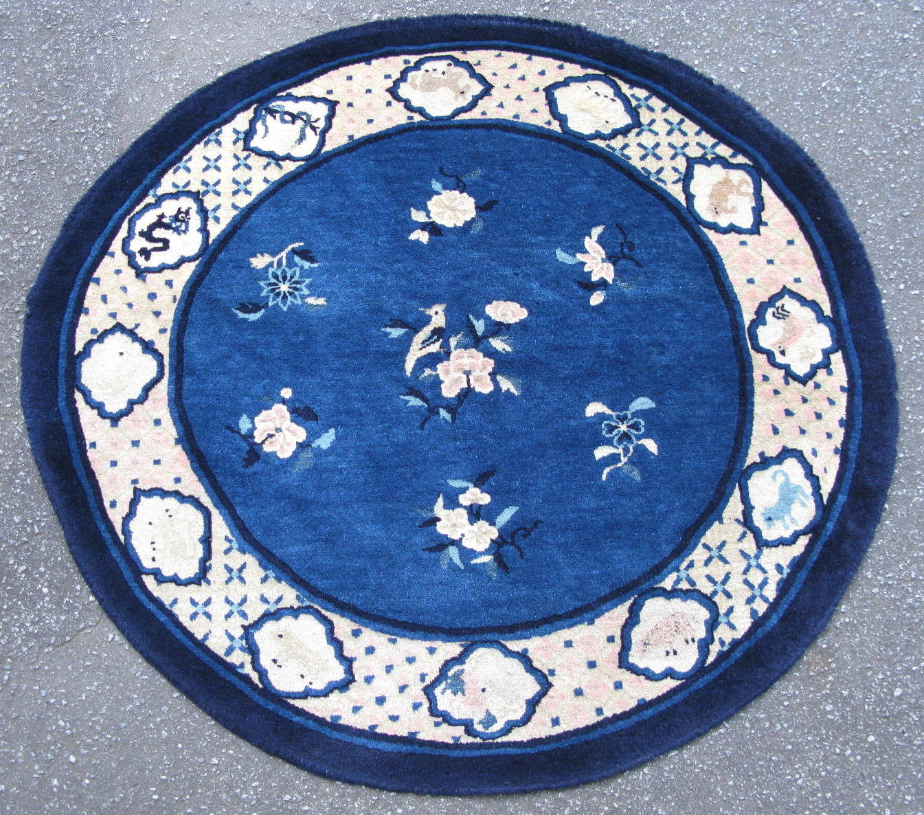 3'11 x 4'2 Round Hand-knotted Antique Chinese Art Deco Blue Peking Zodiac Rug 12980487 (1)