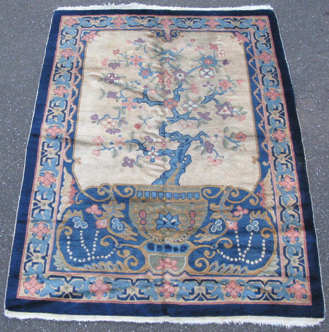 4'1 x 5'6 Hand-knotted Tree of Life Wool Antique Chinese Art Deco Fette Li Blue Peking Rug 12980486 (1)
